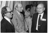Abraham Pais, Paul Dirac and E. P. Wigner in receiving line