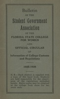 Bulletin of the Student Government Association of the Florida State College for Women and Official Circular of Information of College Customs and Regulations