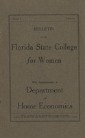 Bulletin of the Florida State College for Women: With Announcements of Department of Home Economics
