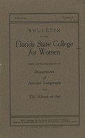 Bulletin of the Florida State College for Women with Announcements of Department of Ancient Languages and the School of Art