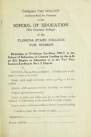 A Course Book for Freshman in the School of Education