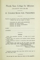 Florida State College for Women Collegiate Year 1931-1932: A Course Book for Freshman