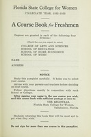 Florida State College for Women Collegiate Year 1932-1933: A Course Book for Freshman