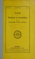 Articles by Students in Journalism of the Florida State College for Women: Bulletin