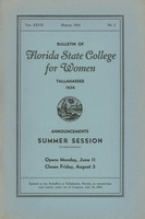 Bulletin of the Florida State College for Women: Announcements Summer Session (Co-Educational)