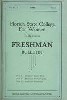 Florida State College for Women Freshman Bulletin