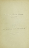Bulletin of the Graduate Division: Summer Session 1937