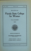 Bulletin Florida State College for Women: Announcements Summer Session (Co-Educational)