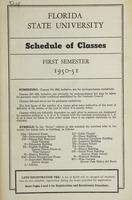 FSU Schedule of Classes First Semester