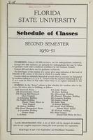 FSU Schedule of Classes Second Semester