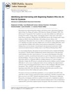 Identifying and Intervening with Beginning Readers Who Are At-Risk for Dyslexia
