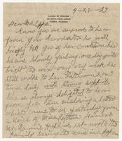 """Letter addressed to """"Dear Mrs. Eppes"""" from Laura M. Craver"""