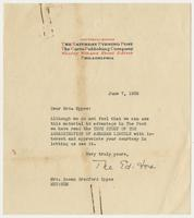 Correspondence between Mrs. Eppes and the editors of The Saturday Evening Post of the Curtis Publishing Company