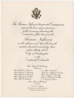 Invitation to the dedication of the memorial to Thomas Jefferson