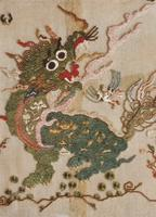 """Card of an embroidered Chinese dragon sent to """"Mauci"""" from Liz"""