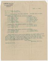 April 11, 1899 letter from Garretson, Cox & Co.