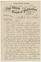 Correspondence with Mrs. Eppes from E.H. Swinney of the Publishing House of the New Church Board of Publication
