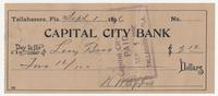 Capital City Bank Check for $2.12 to Levy Bros, signed by N. W. Eppes