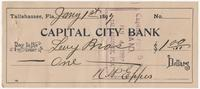 Capital City Bank Check for $1.00 to Levy Bros, signed by N. W. Eppes