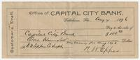 Customer's Draft of Capital City Bank Check for $100.00 (My Salary for Aug 1896), signed by N. W. Eppes