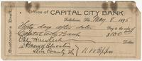 Customer's Draft of Capital City Bank Check for $100.00 made out to the Board of Education, signed by N. W. Eppes