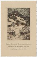 """Christmas card titled """"Hearty Christmas Greetings and every wish is that the New Year will find you happy and contented."""" addressed to """"My dear friend"""""""