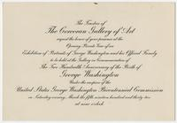 Invitation from The Corcoran Gallery of Art to an exhibition of George Washington portraits