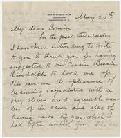 """Letter addressed to """"My dear Cousin"""" from R. Kean"""