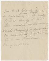 Handwritten note about Mr. A.B. Clark