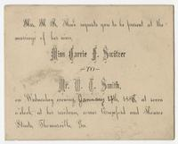 Invitation to the wedding of Miss Carrie Switzer to Mr. W. Smith