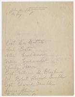 Handwritten list of names