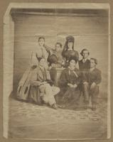 Collection of images including a family portrait and three small cutout portraits