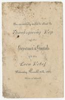 Invitation to the Thanksgiving Hop of the Governor's Guards at the Leon Hotel
