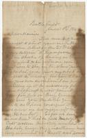 Letter with burned edges written to Hennie from Thos. H. C. from the Battlefield