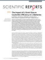 The Impact of Li Grain Size on Coulombic Efficiency in Li Batteries