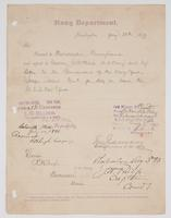 Order from the Navy Department for R. H. Leigh to proceed to Philadelphia and report to Captain J. W. Philip