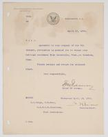 Granted request from the Chief of Bureau of Navigation, authorizing R.H. Leigh to change his permanent address