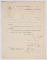 Order from the Navy Department for Richard H. Leigh to report to the Superintendent of the U.S. Naval Academy in Annapolis, Md.