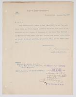 Order from the Navy Department relieving Richard H. Leigh from duty at the Naval War College