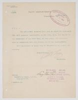 Order from the Navy Department detaching Richard H. Leigh from duty on board the U.S.S. Justin
