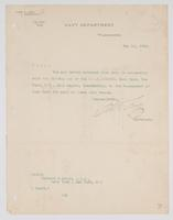 Order from the Navy Department detaching Richard H. Leigh from duty of the U.S.S. Ailenne, Navy Yard