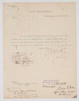 Order from the Navy Department detaching Richard H. Leigh from duty on board the U.S.S. Ailenne