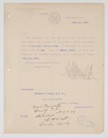 Order from the Navy Department appointing Richard H. Leigh Lieutenant Junior Grade