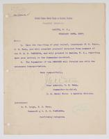Order from the United States Naval Force on Asiatic Station for R. H. Leigh to detach from the U.S.S. Pampanga and report to Manila