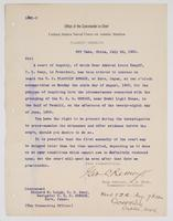 Order from the United States Naval Force on Asiatic Station regarding a court of inquiry on board the U.S.S. Newark