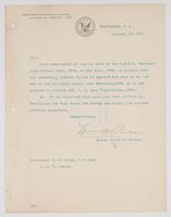 Order from the Bureau of Navigation requesting R. H. Leigh's required signature on the log book of the U.S.R.S. Pampanga