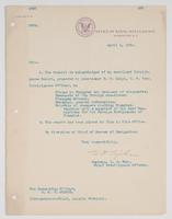 Order from the Office of Naval Intelligence acknowledging an excellent intelligence report produced by R.H. Leigh