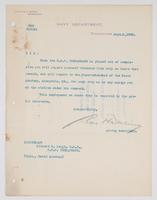 Order from the Navy Department detaching Richard H. Leigh from the U.S.S. Chesapeake when placed out of commission