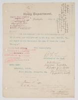 Order from the Navy Department for R. H. Leigh to report to the Navy Yard, Norfolk, Va.