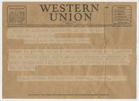 Telegram to Eleanor C. Jackson from General Dunlop